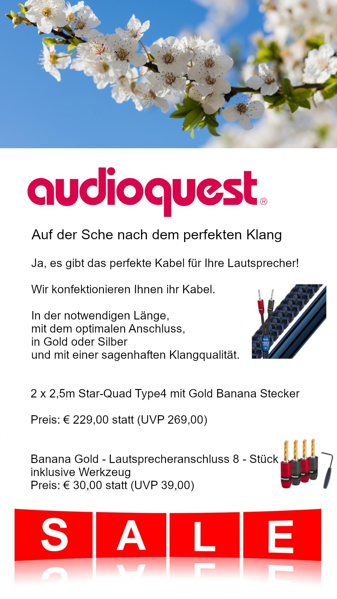 audioquest lautsprecherkabel im angebot mit viel rabatt mit den genialen goldenen Banana Anschlüssen