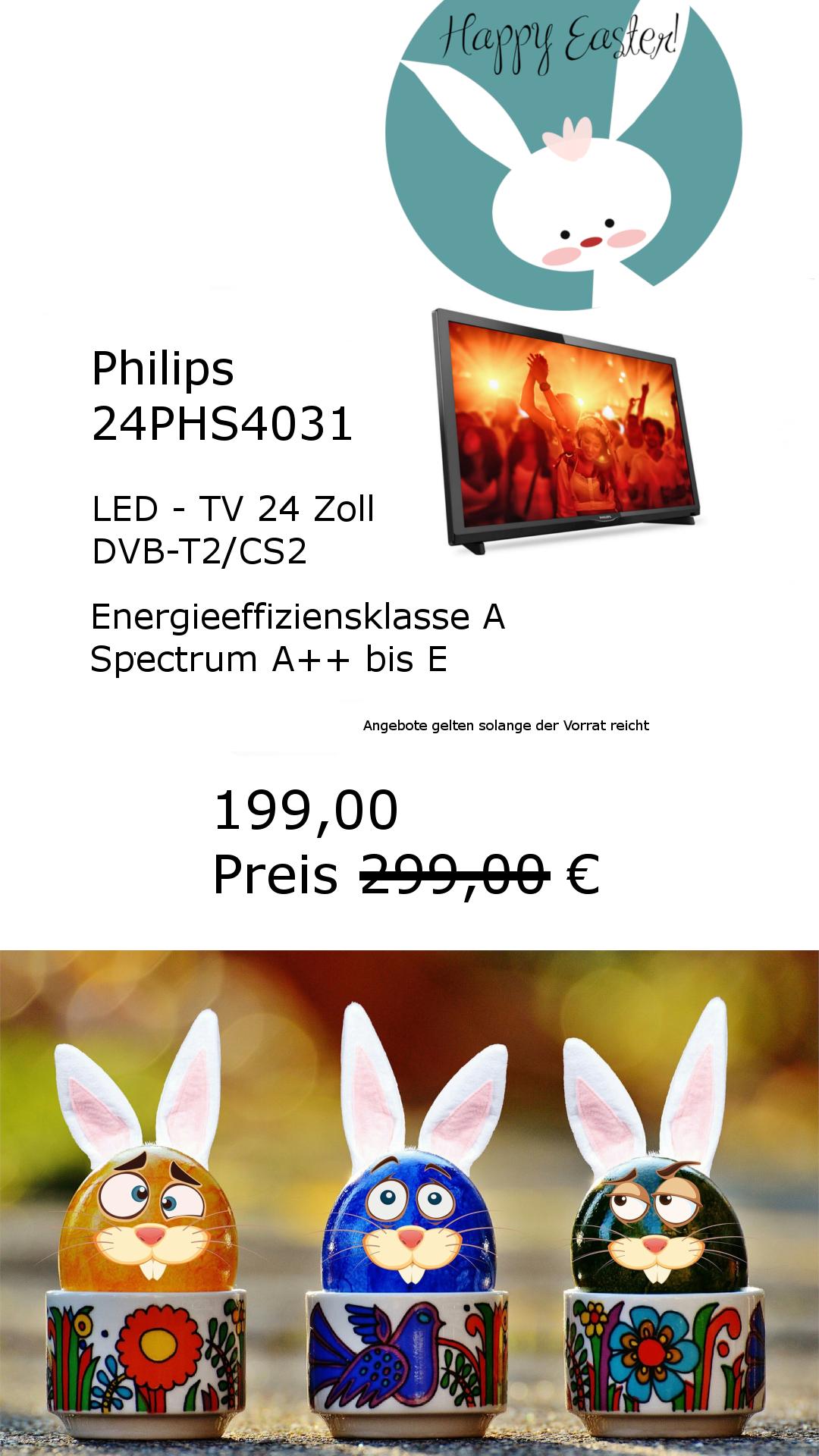 """Philips LCD TV 24"""" für günstiges Geld DVB-T2 geeignet SAT und Kabelempfang"""