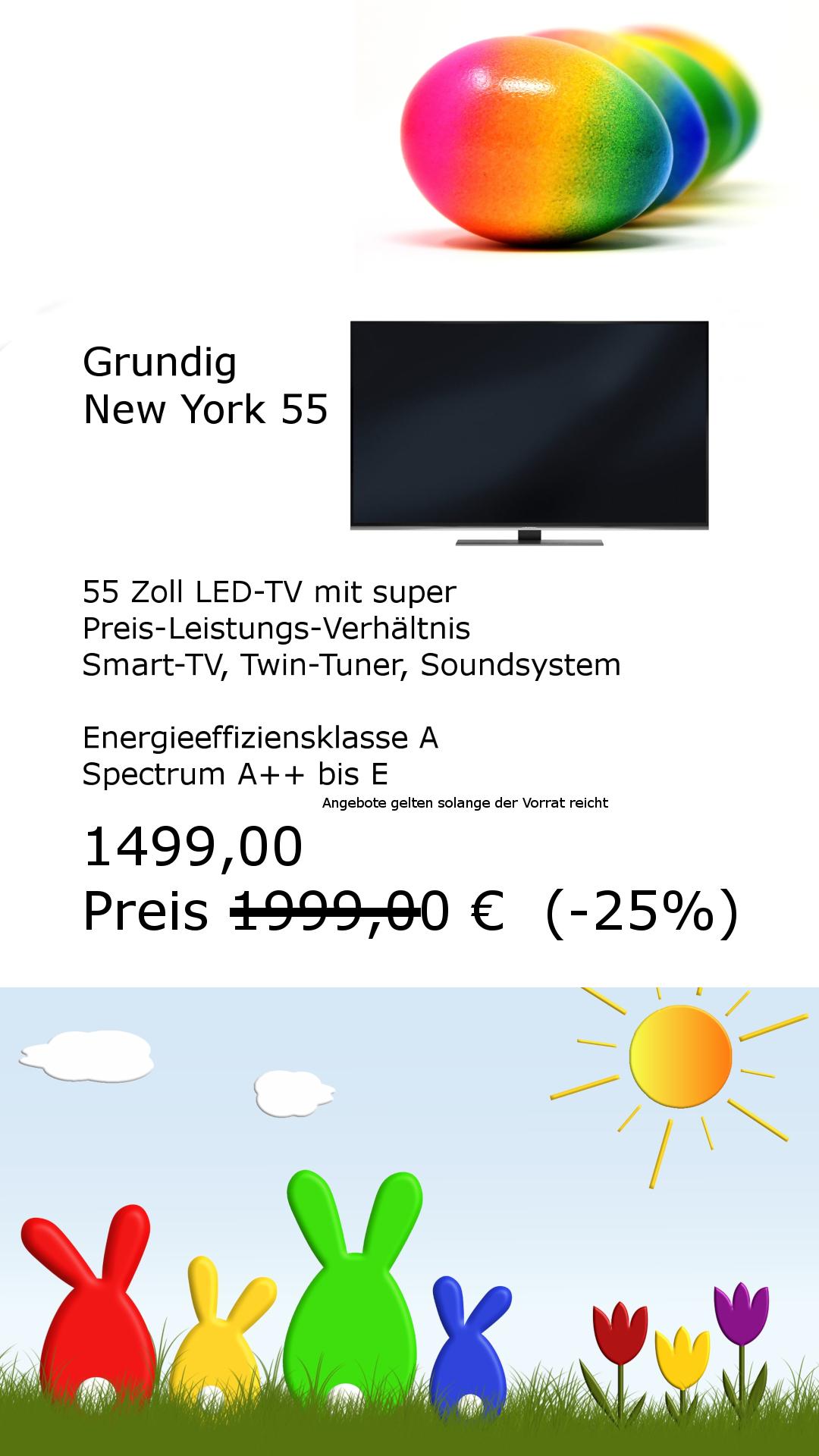 Grundig 55 Zoll LED TV mit Twin Tuner für USB Recording